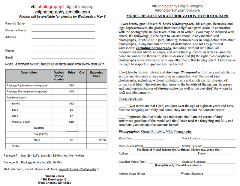 Vbl Photography  Lehs Prom Portraits  Prom Order Form  Model